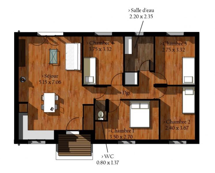 maison kit bois pas cher l 39 habis. Black Bedroom Furniture Sets. Home Design Ideas