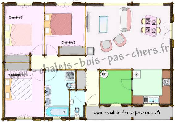 chalet bois pas cher habitable l 39 habis. Black Bedroom Furniture Sets. Home Design Ideas