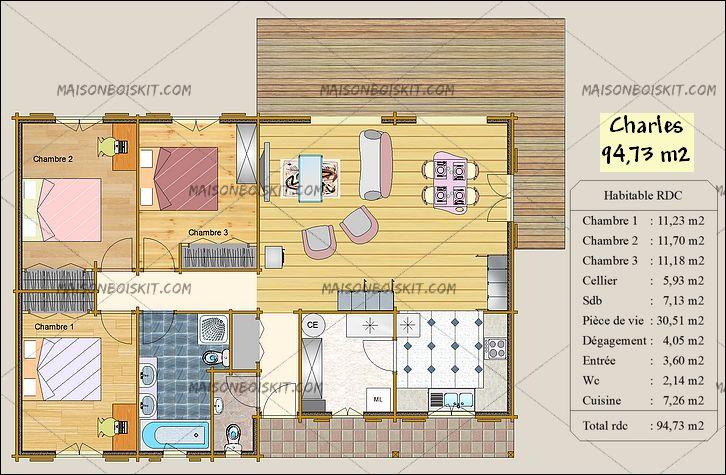 chalet habitable en kit 100m2 l 39 habis. Black Bedroom Furniture Sets. Home Design Ideas