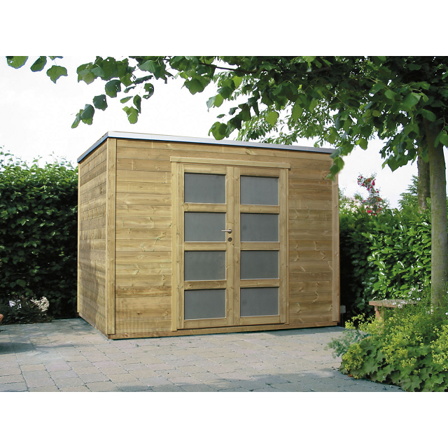 Emejing abri de jardin bois traite toit plat images - Abris de jardin bois autoclave ...