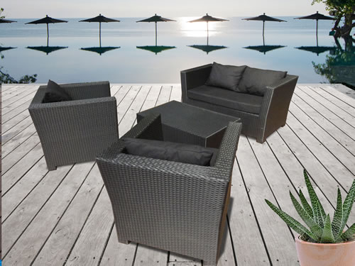 salon de jardin en r sine tress e pas cher l 39 habis. Black Bedroom Furniture Sets. Home Design Ideas