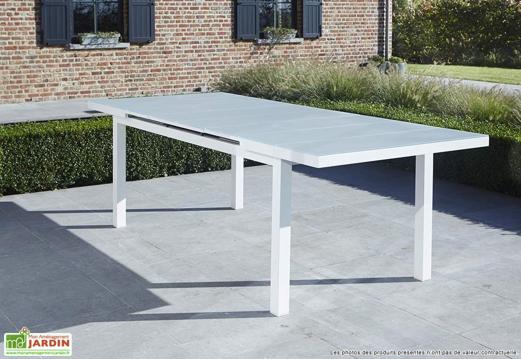 Table de jardin aluminium blanc l 39 habis - Table de jardin extensible aluminium ...