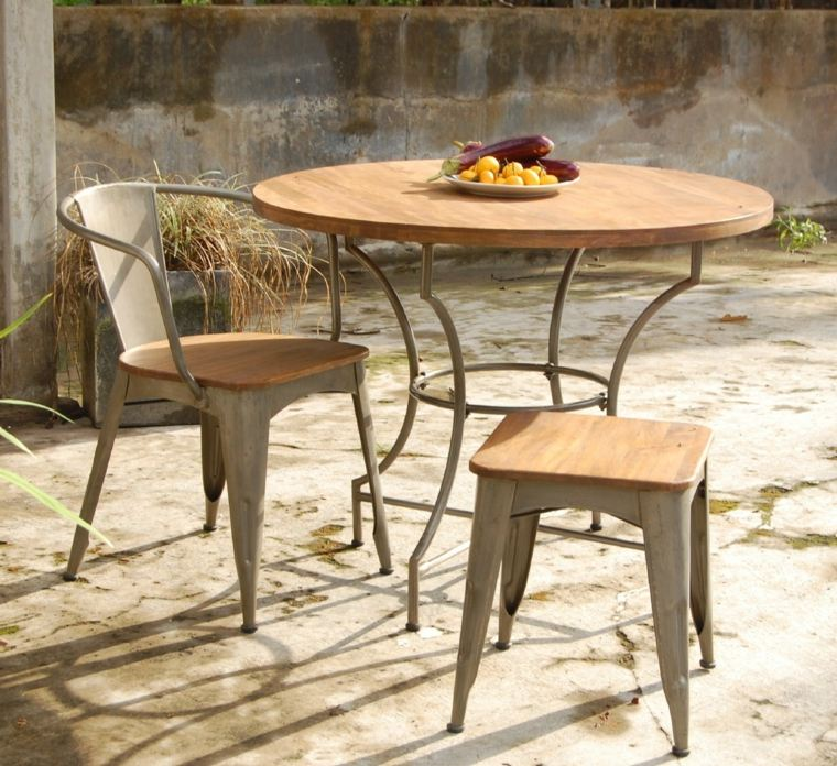 Table jardin bois ronde l 39 habis for Creer une table de jardin