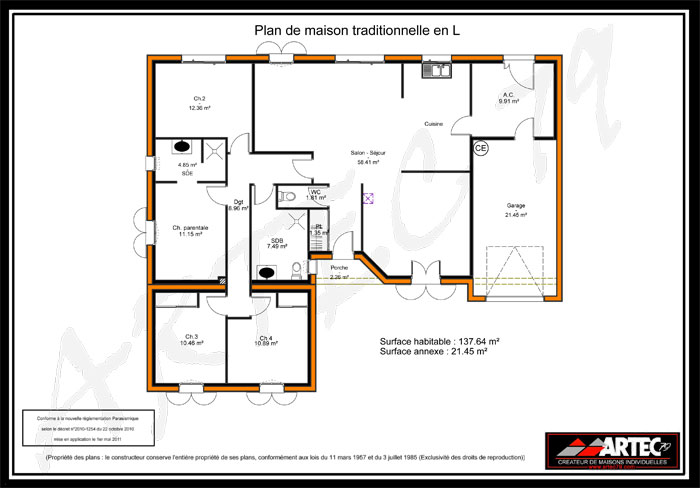 Plan maison 4 chambres l 39 habis for Simulation plan maison