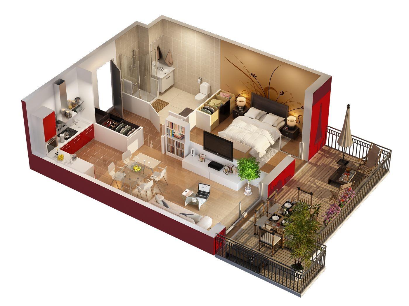 plan 3d appartement l 39 habis. Black Bedroom Furniture Sets. Home Design Ideas