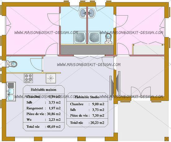 Maison bois 70m2 l 39 habis for Maison bois 80m2