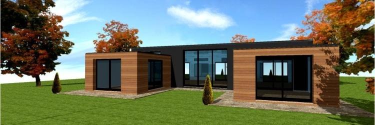 Prix maison en bois contemporaine l 39 habis - Maison cubique plain pied ...
