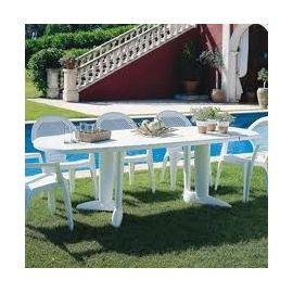 Table de jardin plastique blanc pas cher - l\'Habis