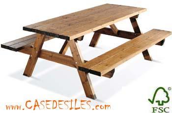 Table bois exterieur avec banc - l\'Habis