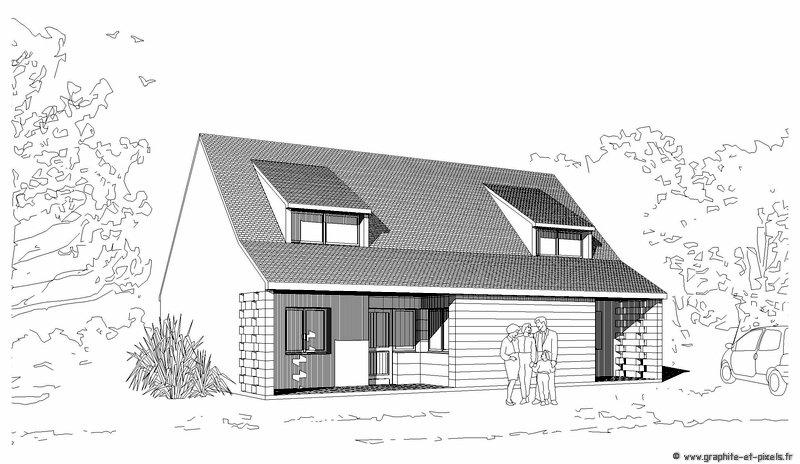 Dessin architecture maison l 39 habis for Dessin maison 3d